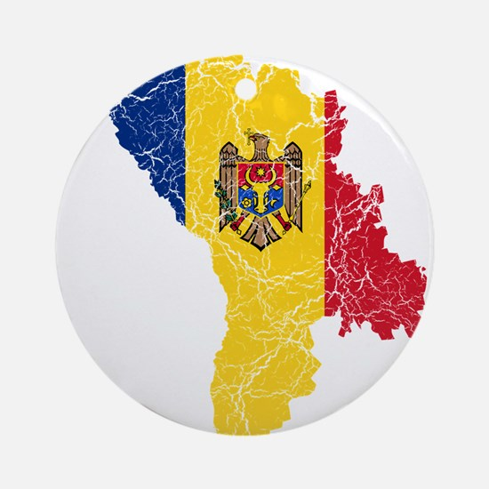 Moldova Flag And Map Ornament (Round)