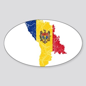Moldova Flag And Map Sticker (Oval)