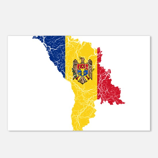 Moldova Flag And Map Postcards (Package of 8)