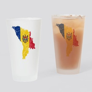 Moldova Flag And Map Drinking Glass