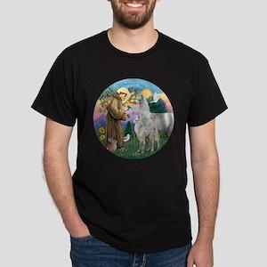 Saint Francis with Llama Mama & Baby Dark T-Shirt