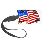 American Flag Butterflies Large Luggage Tag