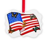American Flag Butterflies Picture Ornament