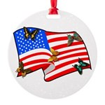 American Flag Butterflies Round Ornament