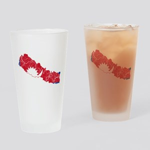 Nepal Flag And Map Drinking Glass