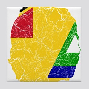 Nevis Flag And Map Tile Coaster