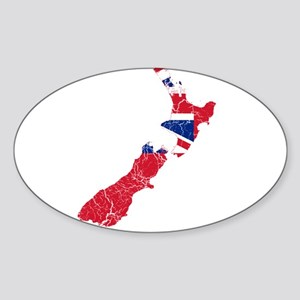 New Zealand Civil Ensign Flag And Map Sticker (Ova
