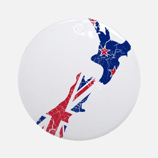 New Zealand Flag And Map Ornament (Round)