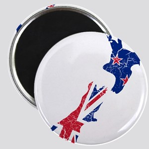 New Zealand Flag And Map Magnet