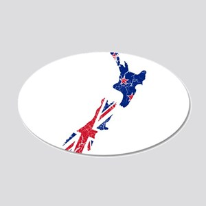 New Zealand Flag And Map 20x12 Oval Wall Decal