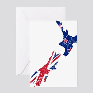 New Zealand Flag And Map Greeting Card
