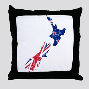 New Zealand Flag And Map Throw Pillow