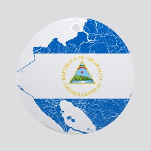 Nicaragua Flag And Map Ornament (Round)