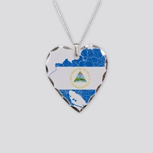 Nicaragua Flag And Map Necklace Heart Charm