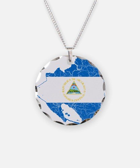 Nicaragua Flag And Map Necklace