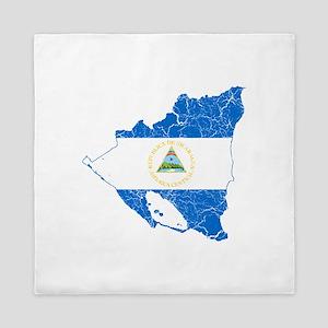 Nicaragua Flag And Map Queen Duvet