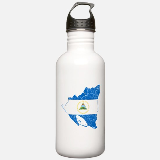 Nicaragua Flag And Map Water Bottle