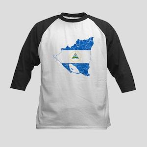 Nicaragua Flag And Map Kids Baseball Jersey
