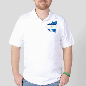 Nicaragua Flag And Map Golf Shirt