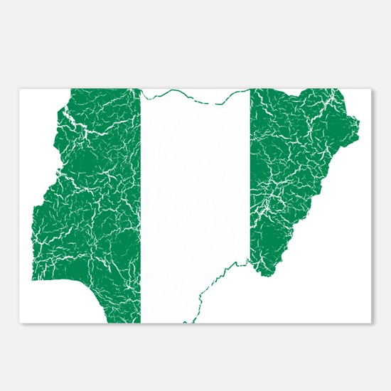 Nigeria Flag And Map Postcards (Package of 8)