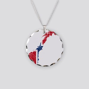 Norway Flag And Map Necklace Circle Charm