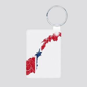 Norway Flag And Map Aluminum Photo Keychain