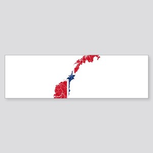 Norway Flag And Map Sticker (Bumper)