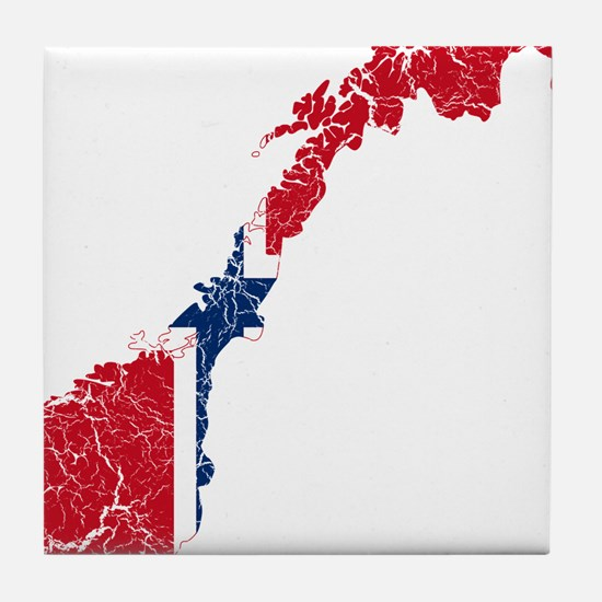 Norway Flag And Map Tile Coaster