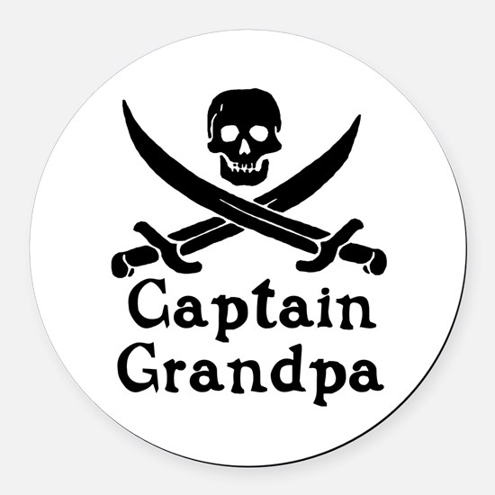 Captain Grandpa Round Car Magnet