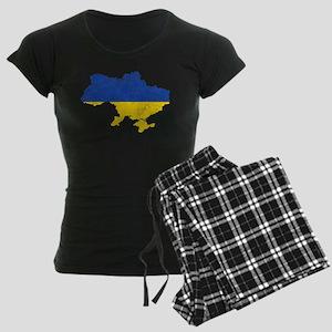 Ukraine Flag And Map Women's Dark Pajamas