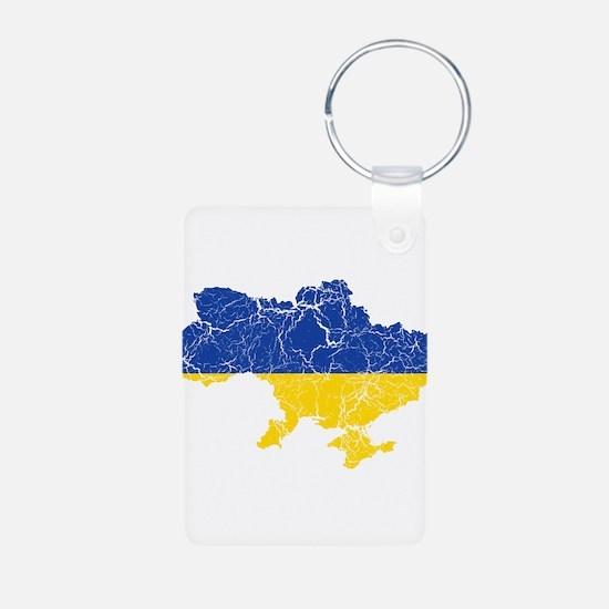 Ukraine Flag And Map Keychains