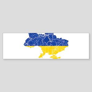 Ukraine Flag And Map Sticker (Bumper)
