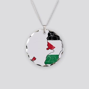 Palestine Flag And Map Necklace Circle Charm