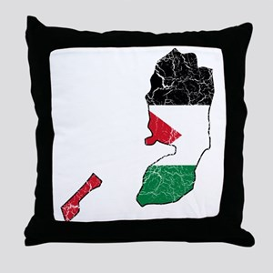 Palestine Flag And Map Throw Pillow