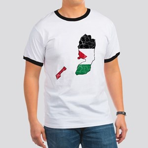 Palestine Flag And Map Ringer T