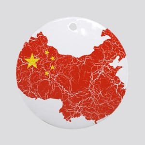 China Flag And Map Ornament (Round)
