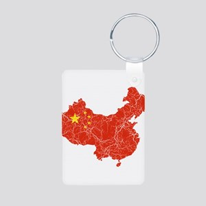 China Flag And Map Aluminum Photo Keychain