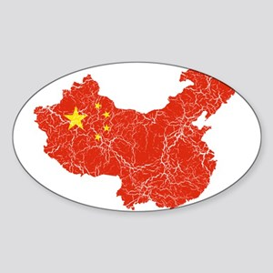 China Flag And Map Sticker (Oval)
