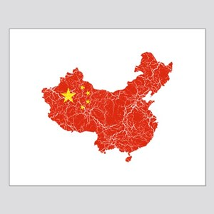 China Flag And Map Small Poster