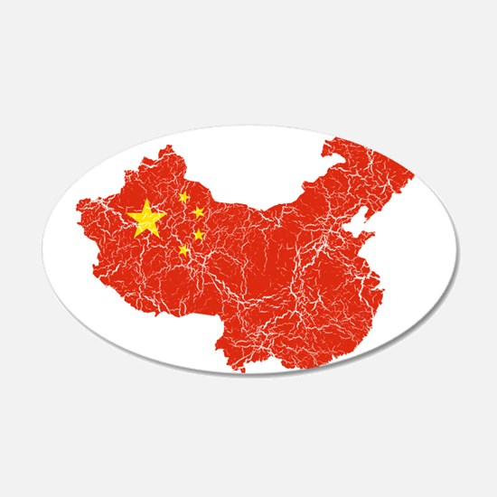 China Flag And Map Wall Decal