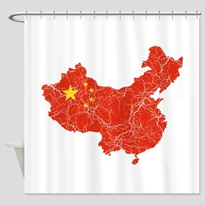 China Flag And Map Shower Curtain