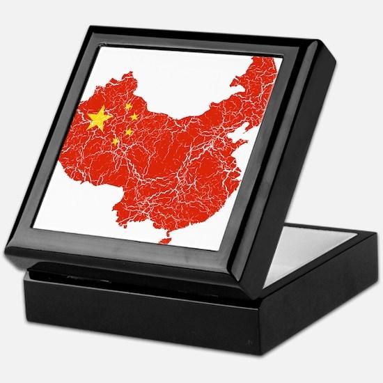 China Flag And Map Keepsake Box