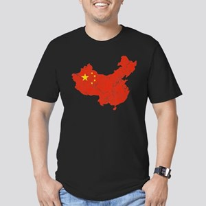 China Flag And Map Men's Fitted T-Shirt (dark)