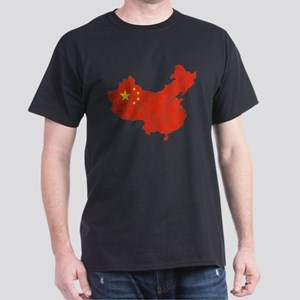 China Flag And Map Dark T-Shirt