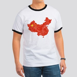 China Flag And Map Ringer T