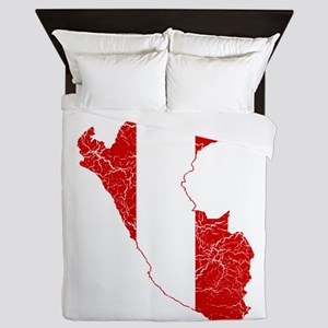 Peru Flag And Map Queen Duvet