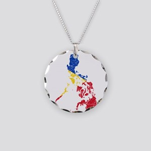 Philippines Flag And Map Necklace Circle Charm