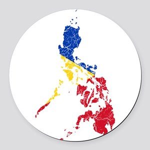 Philippines Flag And Map Round Car Magnet