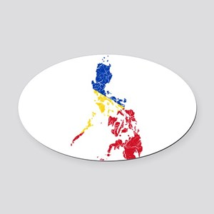 Philippines Flag And Map Oval Car Magnet