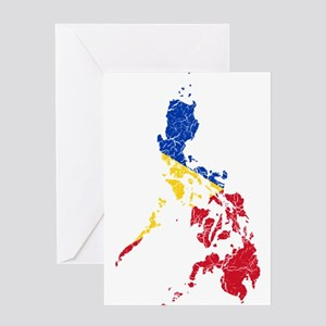 Philippines Flag And Map Greeting Card